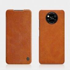 Atverčiamas dėklas Nillkin Qin odinis Xiaomi Poco X3 NFC / Poco X3 Pro Rudas