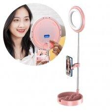 Telefono Stovas Tiesioginėms Transliacijoms YouTube TikTok Instagram video įrašymui Rinkinyje LED selfie žiedas švieselė blykstė Rožinis (1TMJ pink)
