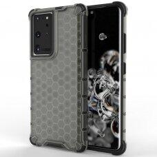Plastikinis dėklas Honeycomb Case armor Samsung Galaxy S21 Ultra 5G juodas