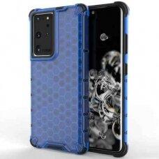 Plastikinis dėklas Honeycomb Case armor Samsung Galaxy S21 Ultra 5G mėlynas