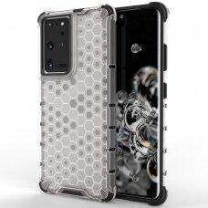 Plastikinis dėklas Honeycomb Case armor Samsung Galaxy S21 Ultra 5G skaidrus