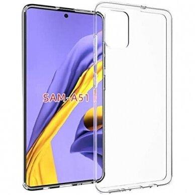 """Plonas Gelinis Dėklas Nugarėlė """"Ultra Clear 0.5Mm"""" Samsung Galaxy A51 Permatomas"""