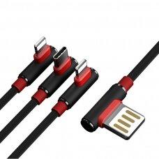 Proda Sparta USB - 2x Lightning / USB Typ C elbow kabelis 5A 1m juodas (PD-B11th juodas) (ctz220)