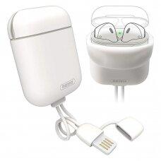 Remax AirPods Case Silica gelinis dėklas Airpods 1/2 + USB Lightning kabelis / hook baltas (ctz220)