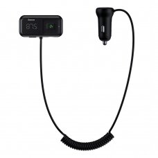 Baseus S-16 FM Siųstuvas Bluetooth 5.0 2x USB Automobilinis Įkroviklis AUX MP3 TF micro SD 3,1 A Juodas (CCTM-E01)