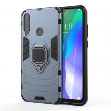 Ring Armor Case Kickstand tvirtas dėklas su žiedu-stoveliu Huawei Y6p mėlyna