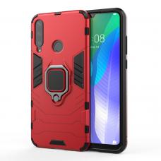 Ring Armor Case Kickstand tvirtas dėklas su žiedu-stoveliu Huawei Y6p raudonas