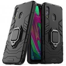"""Apsauginis dėklas su žiedu """"Ring Armor Rugged"""" Samsung Galaxy A40 juodas (awr89) UCS032"""