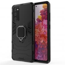 Dėklas Ring Armor Case Kickstand Tough Rugged Cover For Samsung Galaxy S20 Fe 5G Juodas