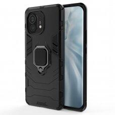 Dėklas Ring Armor Case Kickstand Tough Rugged Cover for Xiaomi Mi 11 Juodas