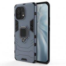 Dėklas Ring Armor Case Kickstand Tough Rugged Cover for Xiaomi Mi 11 Mėlynas