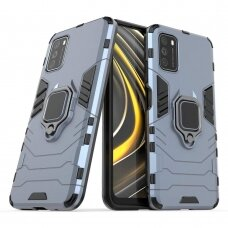 Dėklas Ring Armor Case Kickstand Tough Rugged Xiaomi Poco M3 / Xiaomi Redmi 9T Mėlynas