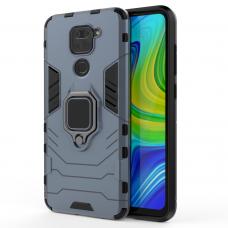 Tvirtas Dėklas Su Žiedu-Stoveliu 'Ring Armor Case Kickstand'  Xiaomi Redmi 10X 4G / Xiaomi Redmi Note 9 Mėlynas