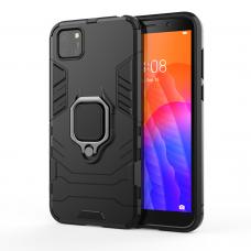 Ring Armor Case Kickstand Tvirtas Dėklas Su Žiedu-Stoveliu Huawei Y5P Juodas