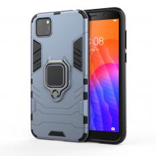 Ring Armor Case Kickstand Tvirtas Dėklas Su Žiedu-Stoveliu Huawei Y5P Mėlynas