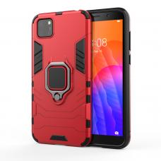 Ring Armor Case Kickstand tvirtas dėklas su žiedu-stoveliu Huawei Y5p raudonas