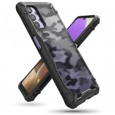 Dėklas Ringke Fusion X Design durable PC Case su TPU Bumperiu Samsung Galaxy A32 5G Camo Juodas (XDSG0058)