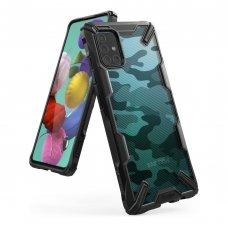 """Apsauginis plastikinis dėklas """"Ringke Fusion X Design"""" Samsung Galaxy A51 Camo juodas (XDSG0023) (lop20)"""