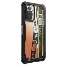 Dėklas Ringke Fusion X Design durable PC+TPU Xiaomi Redmi Note 10 Pro Juodas (Ticket band) (XDXI0024)