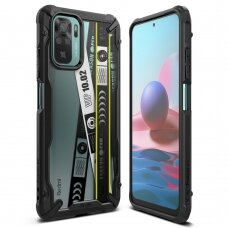 Dėklas Ringke Fusion X Design durable PC+TPU Xiaomi Redmi Note 10 / Redmi Note 10S Juodas (Ticket band) (XDXI0029)