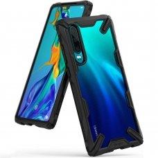 """Smūgiams Atsparus Pc Plastiko Dėklas Su Tpu Sutvirtintais Šonais """"Ringke Fusion X Design"""" Huawei P30 Juodas (Fxhw0013)"""