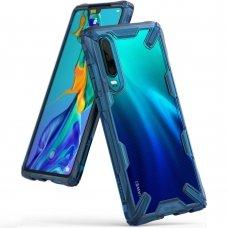 """Smūgiams Atsparus Pc Plastiko Dėklas Su Tpu Sutvirtintais Šonais """"Ringke Fusion X Design"""" Huawei P30 Mėlynas (Fxhw0014)"""