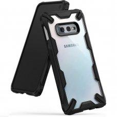 """Smūgiams Atsparus Pc Plastiko Dėklas Su Tpu Sutvirtintais Šonais """"Ringke Fusion X Design"""" Samsung Galaxy S10E Juodas (Fusg0012-Rpkg)"""
