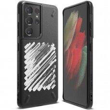 Ringke Onyx Design apsauginis TPU dėklas Samsung Galaxy S21 Ultra 5G juodas (Paint) (OXAP0057)