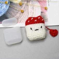 SILICON CASE BOX FOR AIRPODS 2GEN / 1GEN HEADPHONES WITH A WOOL CAP MUSHROOM