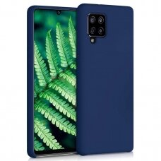 Silicone Case Soft Flexible Rubber Dėklas Samsung Galaxy A12 telefonui Tamsiai Mėlynas