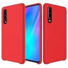 """Silikoninis Lankstus Dėklas """"Flexible Rubber Cover"""" Huawei P30 Raudonas"""