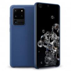 """SILIKONINIS LANKSTUS DĖKLAS """"FLEXIBLE RUBBER COVER"""" Samsung Galaxy S20 Ultra tamsiai mėlynas"""