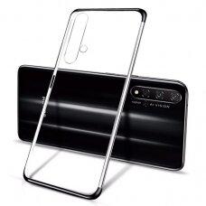Skaidrus dėklas su spalvotu rėmeliu TPU Electroplating Huawei Nova 5T / Honor 20 / Honor 20 Pro / Honor 20S juodas (ctz012) UCS090