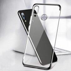 Skaidrus dėklas  TPU  su spalvotu rėmeliu Electroplating Huawei P Smart 2019 juodas (ctz012) UCS089