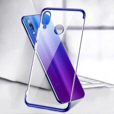 Skaidrus dėklas su spalvotu rėmeliu TPU Electroplating Huawei P Smart 2019 mėlynas (ctz012) UCS089
