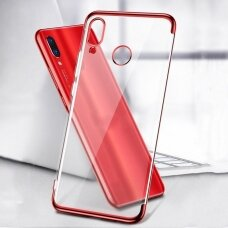 Skaidrus TPU dėklas su spalvotu rėmeliu Electroplating Huawei P Smart 2019 raudonas