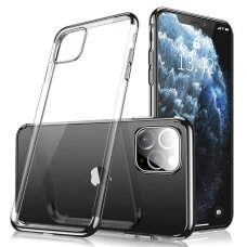 Skaidrus dėklas su spalvotu rėmeliu TPU Electroplating iPhone 11 juodas