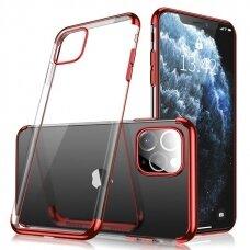Skaidrus dėklas su spalvotu rėmeliu TPU Electroplating iPhone 11 raudonas (ctz010)