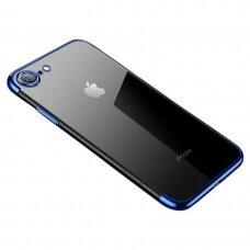 Skaidrus dėklas su spalvotu rėmeliu TPU Electroplating IPHONE 7/ IPHONE 8/ IPHONE SE 2020 mėlynas (ctz013)