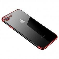 Skaidrus dėklas su spalvotu rėmeliu TPU Electroplating IPHONE 7/ IPHONE 8/ IPHONE SE 2020 raudonas (ctz013)