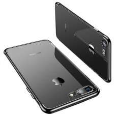 Skaidrus dėklas su spalvotu rėmeliu TPU Electroplating iPhone 8 Plus / iPhone 7 Plus juodas (ctz013) UCS063
