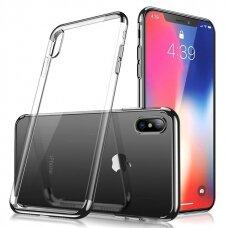 Skaidrus dėklas su spalvotu rėmeliu TPU Electroplating iPhone XS / iPhone X juodas (ctz013) USC060