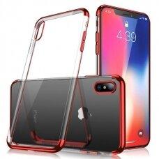 Skaidrus dėklas su spalvotu rėmeliu TPU Electroplating iPhone XS / iPhone X raudonas