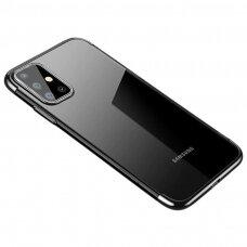 Skaidrus dėklas su spalvotu rėmeliu TPU Electroplating Samsung Galaxy A71 juodas