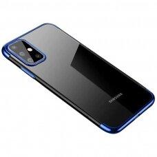 Skaidrus dėklas su spalvotu rėmeliu TPU Electroplating Samsung Galaxy A71 mėlynas (ctz005) UCS024