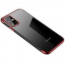 Skaidrus dėklas su spalvotu rėmeliu TPU Electroplating Samsung Galaxy A71 raudonas (ctz005) UCS024