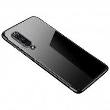 Skaidrus dėklas su spalvotu rėmeliu TPU Electroplating Xiaomi Mi 9 Lite / Xiaomi Mi CC9 juodas (ctz011) UCS129