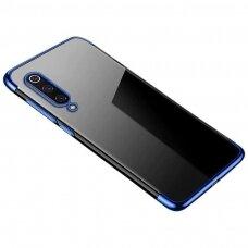 Skaidrus dėklas su spalvotu rėmeliu TPU Electroplating Xiaomi Mi 9 Lite / Xiaomi Mi CC9 mėlynas (ctz011) UCS129