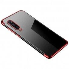 Skaidrus dėklas su spalvotu rėmeliu TPU Electroplating Xiaomi Mi 9 Lite / Xiaomi Mi CC9 raudonas (ctz011) UCS129