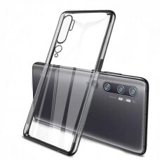 Skaidrus dėklas su spalvotu rėmeliu TPU Electroplating Xiaomi Mi Note 10 / Mi Note 10 Pro / Mi CC9 Pro juodas